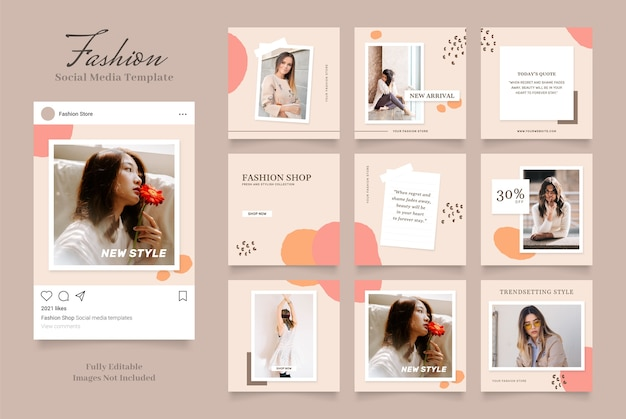 Social media template banner fashion sale promotion. fully editable instagram and facebook square post frame puzzle organic sale