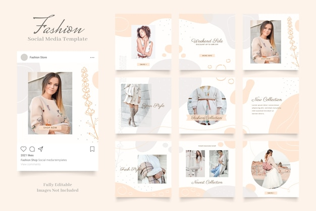Social media template banner fashion sale promotion. fully editable instagram square post frame puzzle