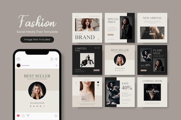 Social media template banner fashion sale promotion fully editable instagram square post frame