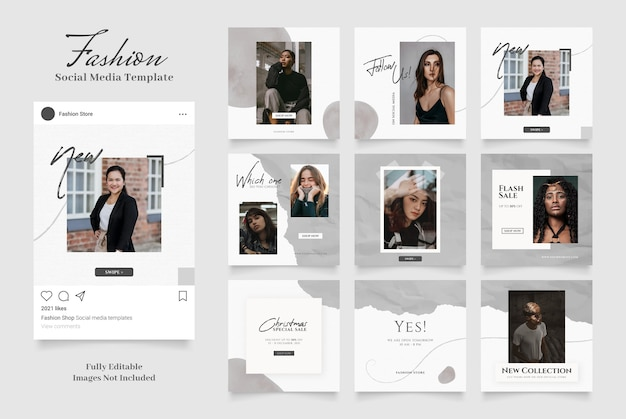 Social media template banner fashion sale promotion. post frame puzzle black grey white colors