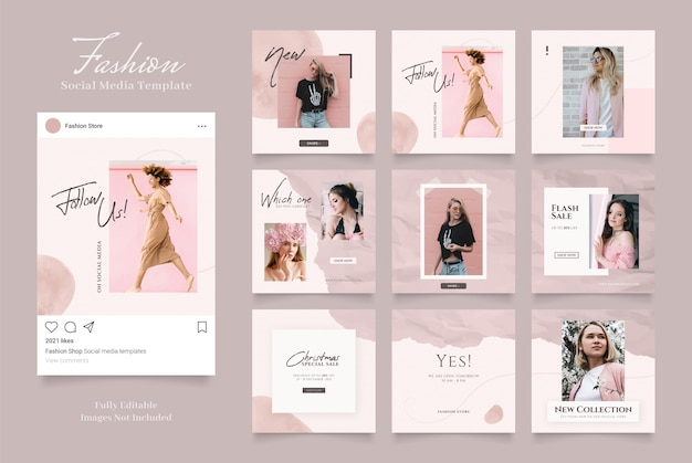 Social media template banner fashion sale promotion.post frame puzzle red pink white colors
