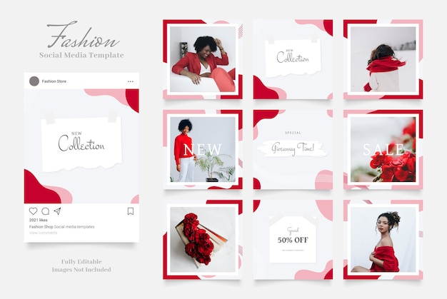 Social media template banner fashion sale promotion.  red pink white