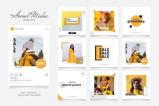 Social media template banner sale promotion. fully editable instagram square post frame puzzle.