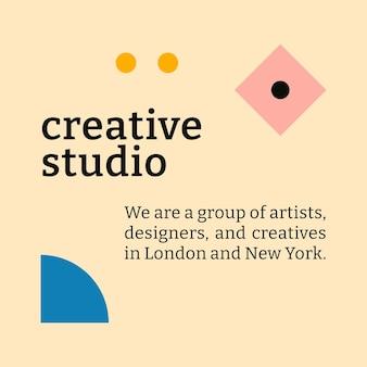 Social media template bauhaus inspired flat design creative studio text