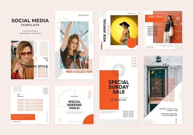 소셜 미디어 템플릿 블로그 패션 판매 프로모션. 완전히 편집 가능한 인스타그램 및 페이스북 정사각형 포스트 프레임 유기농 판매 포스터. 오렌지 흰색 광고 배너 벡터 배경