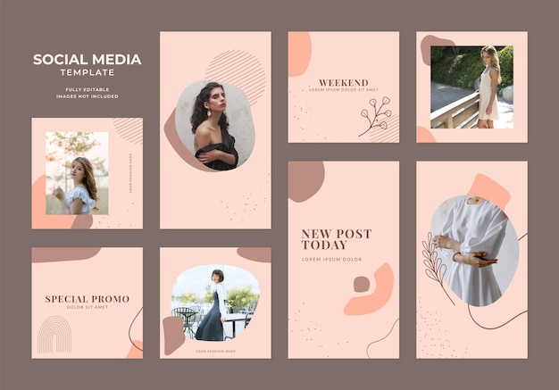 Social media template blog fashion sale promotion. fully editable instagram and facebook square post frame organic sale poster. brown khaki beige ad banner vector background