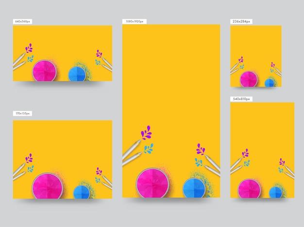 Коллекция шаблонов социальных сетей с мисками, полными порошка (gulal), вид сверху