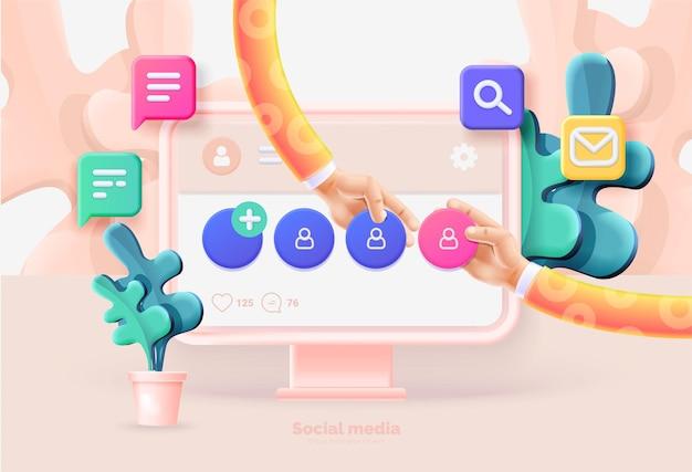 소셜 미디어 템플릿 컴퓨터 및 소셜 미디어 사용자 인터페이스가 있는 스마트폰 소셜 네트워크를 사용하는 사람들 간의 통신 컴퓨터 전화 아이콘 3d 스타일이 있는 벡터 그림