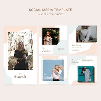 Social media template fashion woman with abstract background and soft color