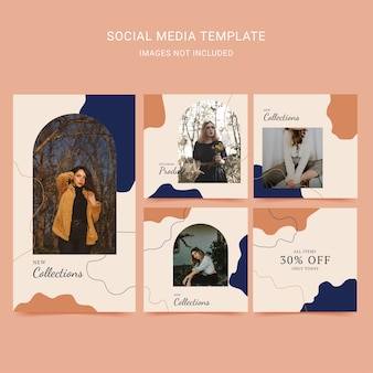 Social media template fashion woman with abstract background