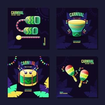 Шаблон для социальных сетей для бразильского карнавала с музыкальным инструментом самба