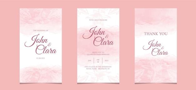 水彩花の背景を持つ結婚式の招待カードのソーシャルメディアテンプレート