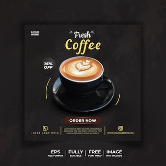 Social media template fresh coffee themed