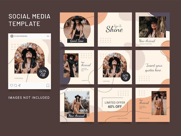 Social media template puzzle post fashion women