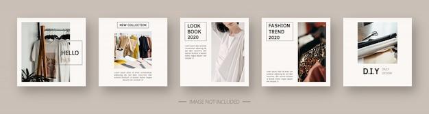 Шаблон социальных сетей. модный редактируемый шаблон сообщения в социальных сетях. изолированные. дизайн шаблона. иллюстрация.