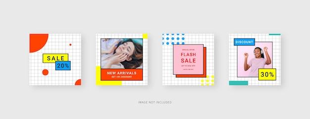 Social media template trendy editable social media post template mockup isolated template design