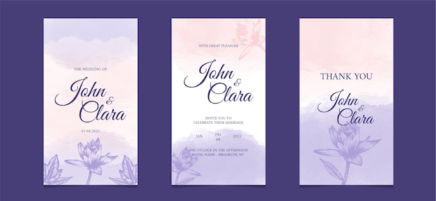Social media template for wedding invitation card with with watercolor floral background