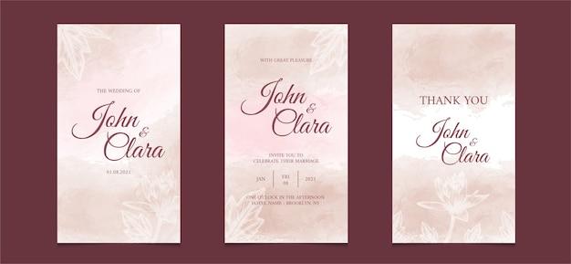 Шаблон свадебного приглашения в социальных сетях с акварельным цветочным фоном