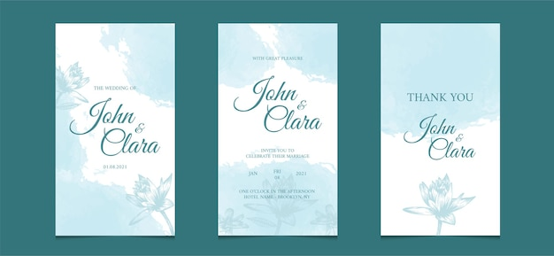 Social media template wedding invitation with watercolor floral background