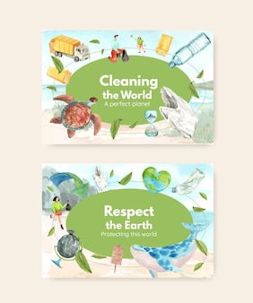 Social media template with earth day concept design watercolor illustration