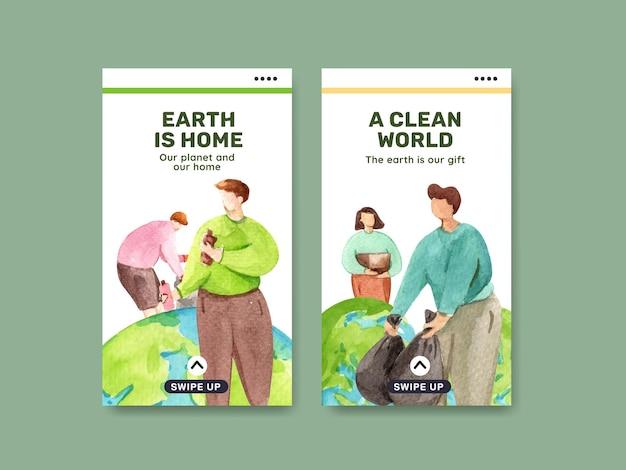 Modello di media sociali con l'illustrazione dell'acquerello di progettazione di massima di giornata per la terra