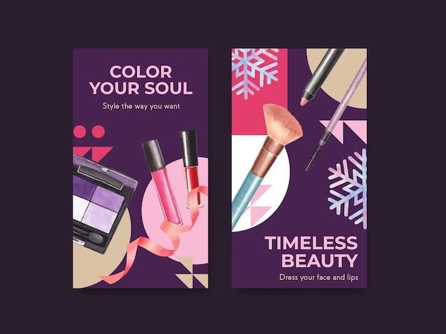 Шаблон социальных сетей с концептуальным дизайном макияжа для социальных сетей и сообщества акварелью.