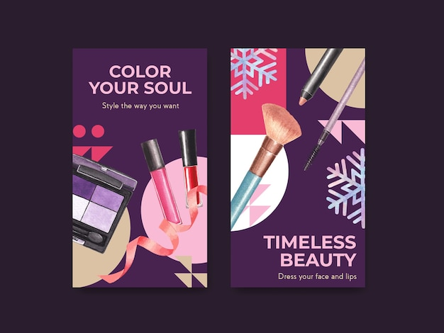 Social media template with makeup concept design for social media and community watercolor.