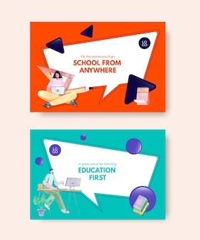 Шаблон для социальных сетей с акварельной иллюстрацией дизайна концепции онлайн-обучения