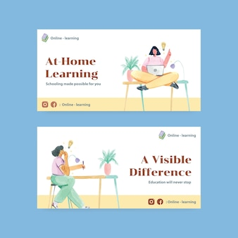 Social media template with online learning concept design watercolor illustration