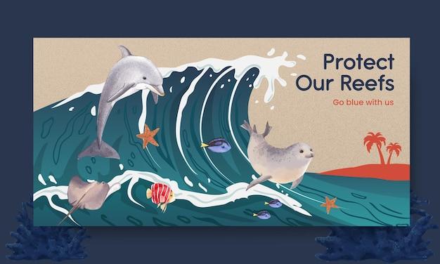 海の生物のコンセプトデザイン水彩イラストとソーシャルメディアテンプレート
