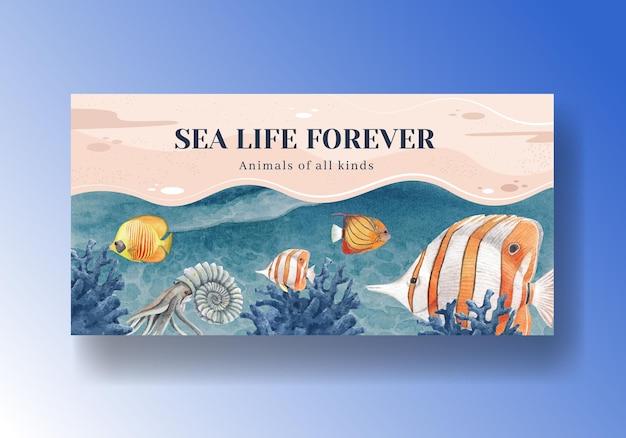 Шаблон социальных сетей с акварельной иллюстрацией дизайна морской жизни