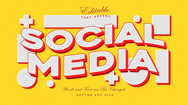 소셜 미디어 텍스트 효과 - 편집 가능한 모형 텍스트 효과