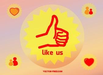 Social media thumb up like vector