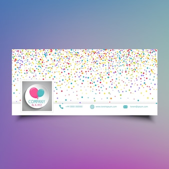 Social media timeline cover design with colourful confetti and balloons
