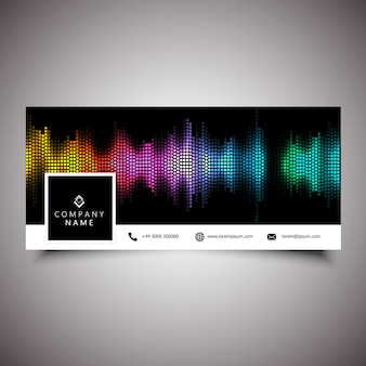 Social media timeline cover with sound waves design