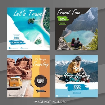 Social media travel sale banner template