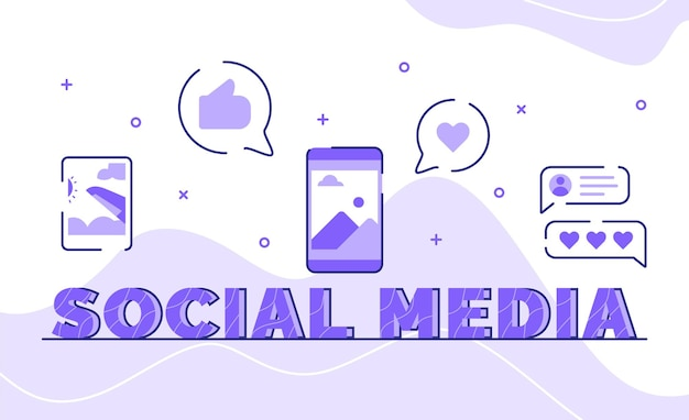 Social media typography word art background of icon picture post feedback comment with outline style
