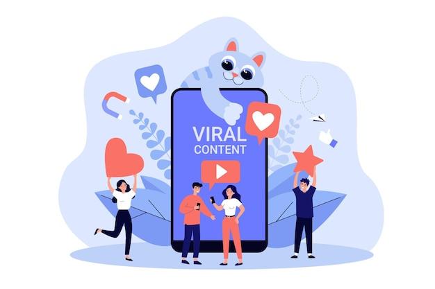 귀여운 고양이와 함께 바이러스 성 동영상 콘텐츠를 좋아하는 소셜 미디어 사용자