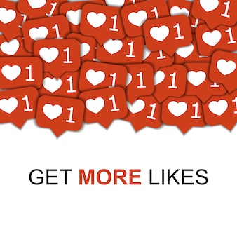 Social media vector background with hearts