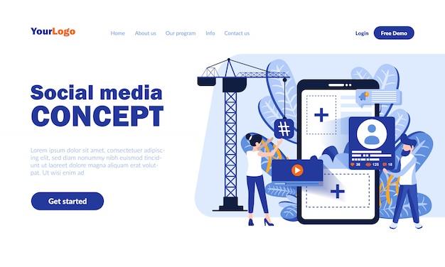 Социальная медиа вектор целевой страницы с заголовком