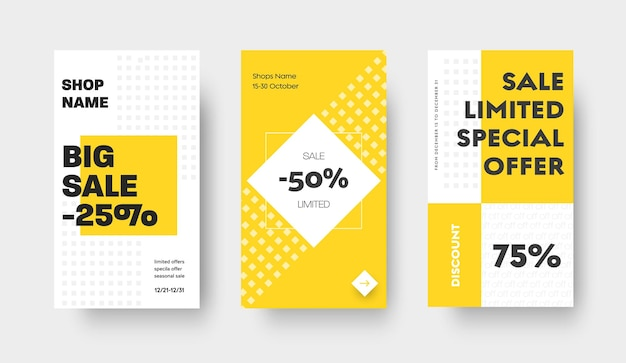Шаблон истории вектора социальных медиа для большой продажи с желтыми квадратами и ромбами. белый современный дизайн с абстрактным рисунком.