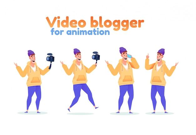 ソーシャルメディアの動画ブロガーセット。ビデオカメラとスマートフォンを備えた男性のインフルエンサー。さまざまな表情と散髪をライブストリーミングします。ストリーマーコレクション。