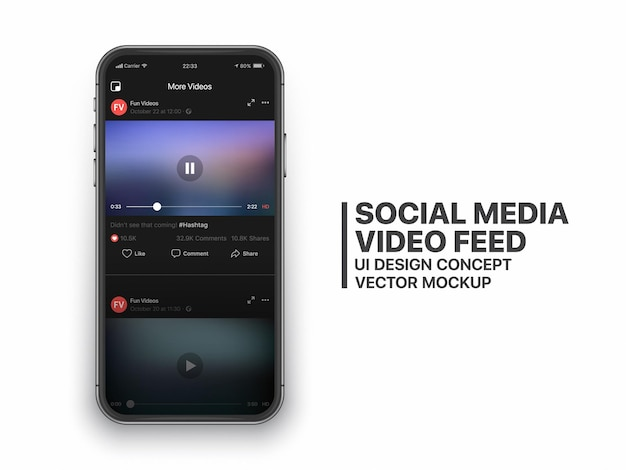 Social media video feed   ui concept for social network on smartphone screen isolated