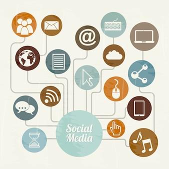 Social media vintage over beige background vector illustration