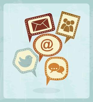 Social media vintage over blue background vector illustration