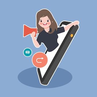 Social media marketing virale e condividere notizie in tutto il mondo illustrazione di concetto.