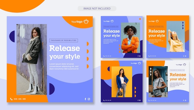 Social media vol 01 clothing and accessories store set of post templates