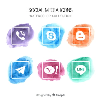 Social media watercolor icons