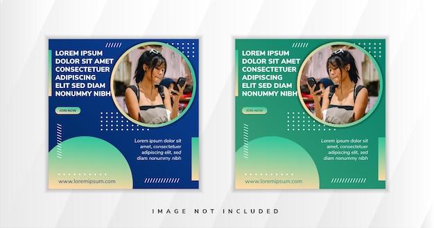 Social media web banner design abstract shape advertising design templates with photo social media