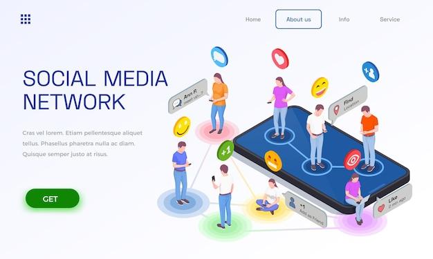 인간 캐릭터 이모티콘 픽토그램과 클릭 가능한 링크가있는 소셜 미디어 웹 사이트 랜딩 페이지 디자인